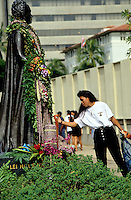 "At statue of Queen Liliukalani; observance of 100th anniversary of overthrow of the Hawaiian monarchy/""Onipa'a;"" Iolani Palace, Honolulu, Hawaii.1-17-93"