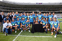 14th March 2021; Eden Park, Auckland, New Zealand;  Blues with the Gordon Hunter Memorial Trophy  - during the Super Rugby Aotearoa rugby match between the Blues and the Highlanders held at Eden Park, Auckland, New Zealand.