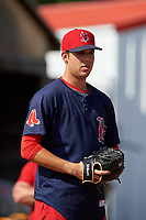 Lowell Spinners pitcher Enmanuel De Jesus (21) throws in the bullpen before a game against the Batavia Muckdogs on July 11, 2017 at Dwyer Stadium in Batavia, New York.  Lowell defeated Batavia 5-2.  (Mike Janes/Four Seam Images)