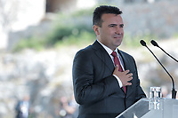 Pictured: Zoran Zaevat at Prespa Lake in northern Greece. Sunday 17 June 2018<br /> Re: Greece and the Former Yugoslav Republic Of Macedonia (FYROM) have signed a deal that aims to settle a decades-long dispute over the country's name.<br /> Under the agreement, Greece's neighbour will be known as North Macedonia.<br /> Heated rows over Macedonia's name have been going on since the break-up of the former Yugoslavia, of which it was a part, and have held up Macedonia's entry to Nato and the EU.<br /> Greece has long argued that by using the name Macedonia, its neighbour was implying it had a claim on the northern Greek province also called Macedonia.<br /> The two countries' leaders, Mr Tsipras and his Macedonian counterpart Zoran Zaev announced the deal on Tuesday and have pressed ahead despite protests.<br /> The two countries' foreign ministers signed the deal on Lake Prespa on Greece's northern border on Sunday.<br /> The agreement still needs to be approved by both parliaments and by a referendum in Macedonia.