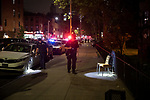 The NYPD investigates a double shooting Hoyt Street on July 17, 2020 in the Brooklyn borough of New York City.  Photograph by Michael Nagle