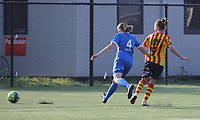Shayna Raekelboom (13) of Yellow Red KV Mechelen  has an attempt on goal and Dorien Gorven (4) of KRC Genk  defends during soccer game between Yellow Red KV Mechelen Women and KRC Genk during Belgian Women's National Division 1 match  on day 2 of 2021-2022 season, on Saturday 4th of September  2021 in Mechelen , Belgium . PHOTO SEVIL OKTEM | SPORTPIX