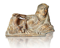 Etruscan Hellenistic style cinerary, funreary, urn  cover,  National Archaeological Museum Florence, Italy , white background