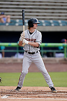 Center fielder Mason Janvrin (9) of the Delmarva Shorebirds in a game against the Lynchburg Hillcats on Wednesday, August 11, 2021, at Bank of the James Stadium in Lynchburg, Virginia. (Tom Priddy/Four Seam Images)