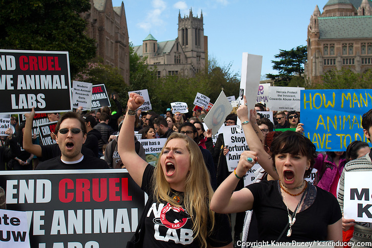 """Aubrie Keegan (left) and Meadow Holtby, both from Whidbey Island, Wash., protest the construction of a new $125 million underground animal research lab at the University of Washington in Seattle, Wash. on April 25, 2015. """"This cruelty needs to be stopped. Now. Not one more life,"""" said Holtby. (© Karen Ducey Photography)"""