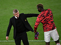 Football: Uefa Europa League - semifinal 2nd leg AS Roma vs Manchester United Olympic Stadium. Rome, Italy, May 6, 2021.<br /> Manchester United's coach Ole Gunnar Solskjaer (L) celebrates with Manchester United's Paul Pogba (R) at the end of  the Europa League football match between Roma and Manchester United at Rome's Olympic stadium, Rome, on May 6, 2021.<br /> Manchester United reaches the 2021Uefa Europa League Final.<br /> UPDATE IMAGES PRESS/Isabella Bonotto