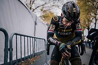 Lars van der Haar (NED/Telenet Fidea Lions) catching his breath post-finish<br /> <br /> men's race<br /> Soudal Jaarmarktcross Niel 2018 (BEL)