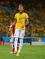 Neymar of Brazil reacts to a missed chance