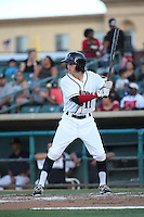 Johnny Sewald (11) of the Lancaster JetHawks bats against the Modesto Nuts at The Hanger on June 7, 2016 in Lancaster, California. Lancaster defeated Modesto, 3-2. (Larry Goren/Four Seam Images)