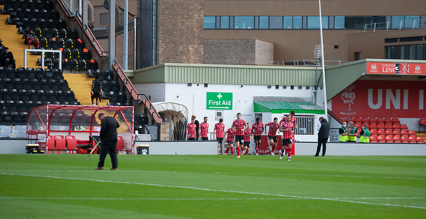 A general view of  LNER Stadium, home of Lincoln City as the players enter an empty stadium for the match<br /> <br /> Photographer Andrew Vaughan/CameraSport<br /> <br /> The EFL Sky Bet League One - Saturday 12th September  2020 - Lincoln City v Oxford United - LNER Stadium - Lincoln<br /> <br /> World Copyright © 2020 CameraSport. All rights reserved. 43 Linden Ave. Countesthorpe. Leicester. England. LE8 5PG - Tel: +44 (0) 116 277 4147 - admin@camerasport.com - www.camerasport.com - Lincoln City v Oxford United