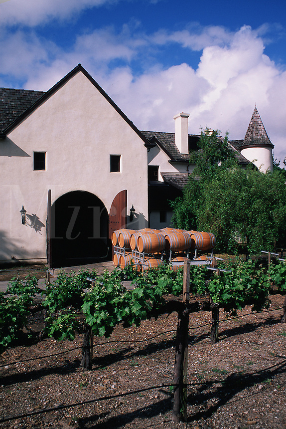 Exterior view of the Chateau Julien winery provides an example of classic French architecture. Grape vines grow along a trellis in the foreground wine casks are stacked in the background. Carmel Valley, California.