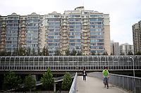 CHINA. Beijing. Apartment blocks and subway in the Tiantongyuan suburb north of Beijing.2009