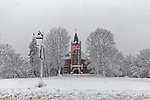 Thompson Hall in the snow, Durham, New Hampshire, USA