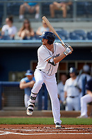 Charlotte Stone Crabs Tanner Dodson (10) at bat during a Florida State League game against the Palm Beach Cardinals on April 14, 2019 at Charlotte Sports Park in Port Charlotte, Florida.  Palm Beach defeated Charlotte 5-3.  (Mike Janes/Four Seam Images)