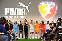 Summer Sanders introduces the 14 WPS players during the unveiling of the Women's Professional Soccer uniforms at the Event Place in Manhattan, NY, on February 24, 2009. Photo by Howard C. Smith/isiphotos.com