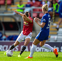 6th September 2020; Leigh Sports Village, Lancashire, England; Women's English Super League, Manchester United Women versus Chelsea Women; Jane Ross of Manchester United Women shoots the ball past Sophie Ingle of Chelsea Women