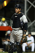 September 9 2008:  Catcher Mitch Abeita of the Staten Island Yankees, Class-A affiliate of the NY Yankees, during Game One of the opening playoff series at Russell Diethrick Park in Jamestown, NY.  Photo by:  Mike Janes/Four Seam Images