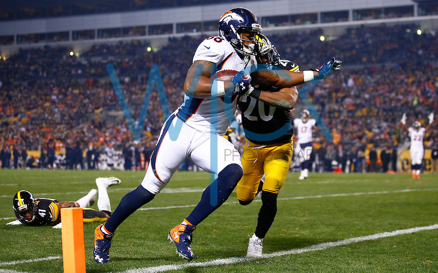 Demaryius Thomas #88 of the Denver Broncos scores a touchdown in front of Will Allen #20 of the Pittsburgh Steelers in the first half during the game at Heinz Field on December 20, 2015 in Pittsburgh, Pennsylvania. (Photo by Jared Wickerham/DKPittsburghSports)