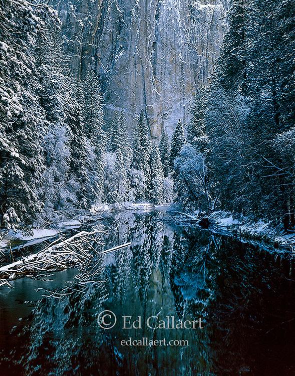 Winter, Merced River, Cathedral Rock, Yosemite National Park, California