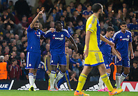 Diego Costa (left) of Chelsea points to the skies after scoring his goal during the UEFA Champions League match between Chelsea and Maccabi Tel Aviv at Stamford Bridge, London, England on 16 September 2015. Photo by Andy Rowland.