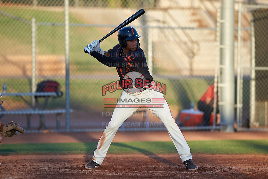 AZL Giants Black Bryan Hernandez (23) at bat during an Arizona League game against the AZL Angels at the Giants Baseball Complex on June 21, 2019 in Scottsdale, Arizona. AZL Angels defeated AZL Giants Black 6-3. (Zachary Lucy/Four Seam Images)
