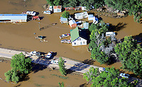 East Platte River flood east of Greeley, CO. Homeowners retrieving goods.