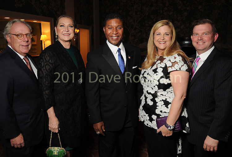 From left: Chairs Mike and Carol Linn, Spencer Tillman and honorary chairs DeeDee and Wallis Marsh at the Touchdown for TEACH gala at the River Oaks Country Club Tuesday Nov. 10, 2015.(Dave Rossman photo)