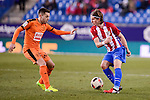 Atletico de Madrid's Filipe Luis and SD Eibar's Ruben Peña Jimenez during Copa del Rey match between Atletico de Madrid and SD Eibar at Vicente Calderon Stadium in Madrid, Spain. January 19, 2017. (ALTERPHOTOS/BorjaB.Hojas)