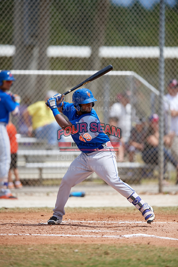 New York Mets Franklin Correa (49) bats during a minor league Spring Training game against the Miami Marlins on March 26, 2017 at the Roger Dean Stadium Complex in Jupiter, Florida.  (Mike Janes/Four Seam Images)