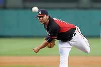 Relief pitcher James Russell (51) of the Atlanta Braves delivers a pitch in a Spring Training game against the New York Yankees on Wednesday, March 18, 2015, at Champion Stadium at the ESPN Wide World of Sports Complex in Lake Buena Vista, Florida. The Yankees won, 12-5. (Tom Priddy/Four Seam Images)