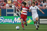 Real Salt Lake midfielder Matias Mantilla (27) challanges FC Dallas midfielder Pablo Richetti (6) for the ball. Real Salt Lake vs FC Dallas at Pizza Hut Park Frisco, Texas May-24-2008 Final Score 1-2