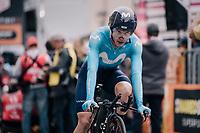 Carlos Betancur (COL/Movistar) crossing the finish line<br /> <br /> stage 16: Trento – Rovereto iTT (34.2 km)<br /> 101th Giro d'Italia 2018