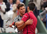 Paris, France, 03 June, 2016, Tennis, Roland Garros, Semifinal women, Novak Djokovic (SRB) receives<br /> congratulations after defeating Dominic Thiem (AUT) (L)eb<br /> Photo: Henk Koster/tennisimages.cominic