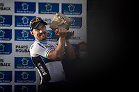 race winner Sonny Colbrelli (ITA/Bahrain-Victorius) and his trophy/cobble<br /> <br /> 118th Paris-Roubaix 2021 (1.UWT)<br /> One day race from Compiègne to Roubaix (FRA) (257.7km)<br /> <br /> ©kramon