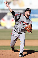 Kevin Quackenbush #20 of the Lake Elsinore Storm pitches against the Lancaster JetHawks at Clear Channel Stadium on April 15, 2012 in Lancaster,California. Lake Elsinore defeated Lancaster 7-5.(Larry Goren/Four Seam Images)