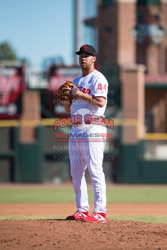 Scottsdale Scorpions relief pitcher Luke Leftwich (44), of the Philadelphia Phillies organization, gets ready to deliver a pitch during an Arizona Fall League game against the Mesa Solar Sox at Scottsdale Stadium on November 2, 2018 in Scottsdale, Arizona. The shortened seven-inning game ended in a 1-1 tie. (Zachary Lucy/Four Seam Images)