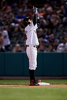 Tri-City ValleyCats right fielder Gilberto Celestino (23) looks skyward while standing on first base during a game against the Vermont Lake Monsters on June 16, 2018 at Joseph L. Bruno Stadium in Troy, New York.  Vermont defeated Tri-City 6-2.  (Mike Janes/Four Seam Images)