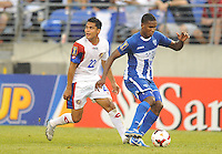 Brayan Beckles (3) of Honduras goes against Jairo Arrieta (22) of Costa Rica. Honduras defeated Costa Rica 1-0 at the quaterfinal game of the Concacaf Gold Cup, M&T Stadium, Sunday July 21 , 2013.