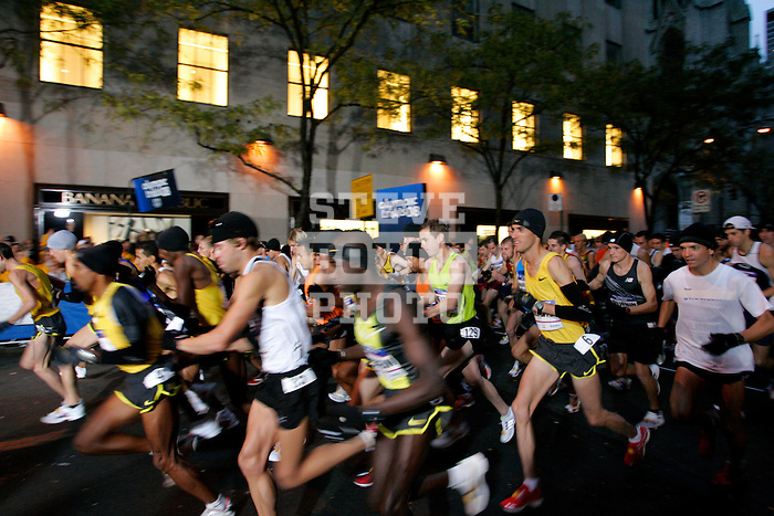 Alan Culpepper (yellow tank) and other competitors at the start of the 2008 Men's Olympic Trials Marathon on November 3, 2007 in New York, New York.  The race began at 50th Street and Fifth Avenue and finished in Central Park.  Ryan Hall won the race with a time of 2:09:02.
