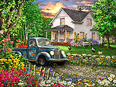 Dona Gelsinger, LANDSCAPES, LANDSCHAFTEN, PAISAJES, paintings+++++,USGE2009,#l#, EVERYDAY ,countryside,summer,truck ,puzzle,puzzles