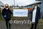 Mercy Mounthawk staff held a Staff Christmas collection and collected €3,300 for 4 local charities, Kerry Cancer Support Group, Kerry Adolescent Counselling Service, ADAPT and the Tralee Soup Kitchen stand at the school on Monday, but due to Covid the four charities cannot collect their cheques. L to r: Stella O'Shea and Cora McElligott