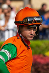 """DEL MAR, CA  AUGUST 25:   Flavien Prat before the Pat O'Brien Stakes (Grade ll), Breeders' Cup """"Win and You're In Dirt Mile Division"""" on August 25, 2018 at Del Mar Thoroughbred Club in Del Mar, CA.(Photo by Casey Phillips/Eclipse Sportswire/Getty ImagesGetty Images"""
