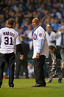 Chicago Cubs Hall of Fame members Greg Maddux and Ferguson Jenkins before throwing out the ceremonial first pitches during Game 4 of the Major League Baseball World Series against the Cleveland Indians on October 29, 2016 at Wrigley Field in Chicago, Illinois.  (Mike Janes/Four Seam Images)