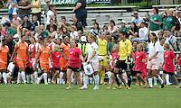 Athletica captain Lori Chalupny leads out the team..Saint Louis Athletica defeated Sky Blue FC 1-0 at Anheuser-Busch Soccer Park, Fenton, Missouri.