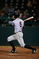 Jupiter Hammerheads left fielder Brian Miller (5) follows through on a swing during a game against the Daytona Tortugas on April 13, 2018 at Jackie Robinson Ballpark in Daytona Beach, Florida.  Daytona defeated Jupiter 9-3.  (Mike Janes/Four Seam Images)