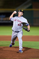 Salt River Rafters pitcher Mike Hepple (48) delivers a pitch during an Arizona Fall League game against the Scottsdale Scorpions on October 14, 2015 at Scottsdale Stadium in Scottsdale, Arizona.  Scottsdale defeated Salt River 13-3.  (Mike Janes/Four Seam Images)
