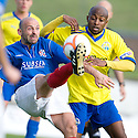 Cowdenbeath's Colin Cameron clears from Morton's Fouad Bachirou ...