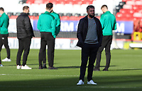 Ryan Lowe manager of Plymouth Argyle inspecting the pitch before kick off during Charlton Athletic vs Plymouth Argyle, Emirates FA Cup Football at The Valley on 7th November 2020