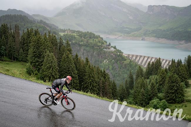 Tosh Van der Sande (BEL/Lotto Soudal) descending the Col du Pré (HC/1748m) towards the Barrage de Roselend in, yet again, grim conditions.<br /> <br /> Stage 9 from Cluses to Tignes (145km)<br /> 108th Tour de France 2021 (2.UWT)<br /> <br /> ©kramon