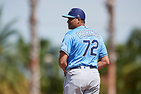 Tampa Bay Rays relief pitcher Yonny Chirinos (72) gets ready to deliver a pitch during a Grapefruit League Spring Training game against the Baltimore Orioles on March 1, 2019 at Ed Smith Stadium in Sarasota, Florida.  Rays defeated the Orioles 10-5.  (Mike Janes/Four Seam Images)